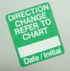 Direction Change Label - Green - roll of 250