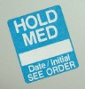 Hold Med Label - Blue - roll of 250