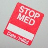 Stop Med Label - Red - roll of 250