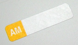 Select Series 7+ Time Bar Label - AM - roll of 500